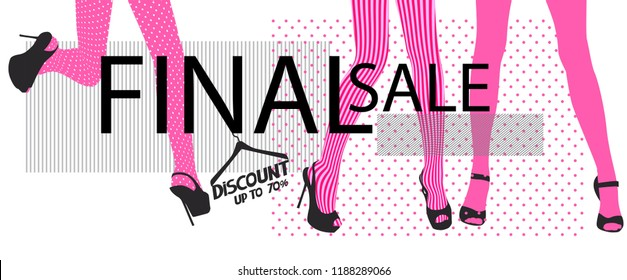 Final sale banner with women's legs in tights. Vector illustration