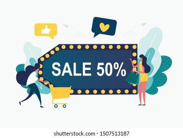 Final sale. Discounts 50 percent. womenl in a dress holding bags -Flat Vector Illustration