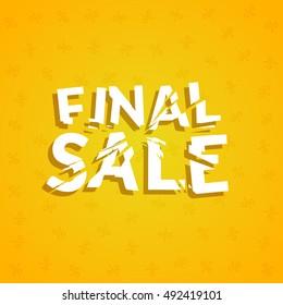 Final Sale poster design template. Promotion marketing design banner illustration.