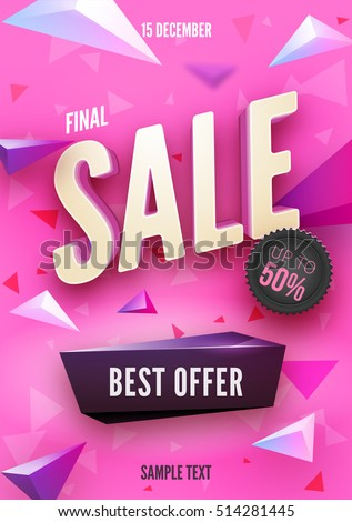final sale poster flyer design 3 d stock vector royalty free