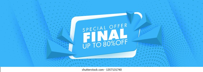 Final Sale Special Offer Banner Template Blue banner. Abstract background modern hipster futuristic graphic. Blue background with white stripes. Vector illustration.