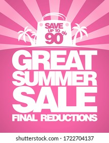 Final summer sale poster design with big shopping bag and tropical island on a backdrop, save up to 90% off