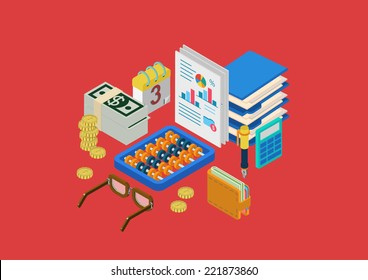 Finance accounting paperwork flat 3d isometric modern design concept money statistics wallet calculator coins glasses abacus vector web banners illustration print materials website click infographics