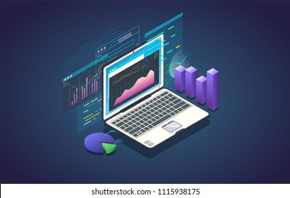 Finance analysis computer application. Isometric laptop with chart and financial growth graph. Big data and marketing analysis. Finance report and plan for business.