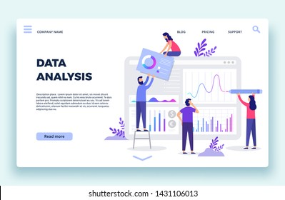 Finance analyst landing page. Stock market forecasting, stocks statistic and business trends forecast. Statistical advertising information column, cryptocurrency diagram flat vector illustration