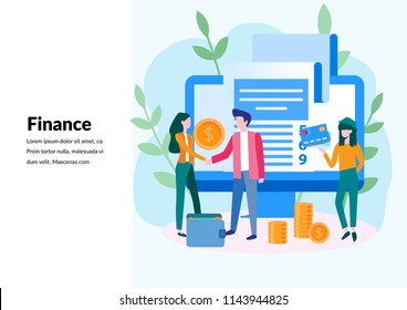 Finance, ATM, giving out money Concept for web page, banner, presentation, social media, documents, cards, posters. bank financing, money exchange, financial services,  Vector illustration
