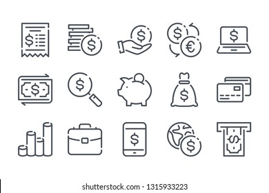 Finance and banking related line icons. Money and payment vector linear icon set.