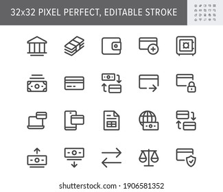 Finance banking simple line icons. Vector illustration with minimal icon - wallet, bunch cash, credit card, safe, online transfer, account protection pictogram. 32x32 Pixel Perfect Editable Stroke.