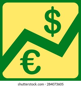Finance from BiColor Euro Banking Icon Set. Vector style: flat, yellow symbol, rounded angles, green background.
