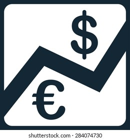 Finance from BiColor Euro Banking Icon Set. Vector style: flat, white symbol, rounded angles, dark blue background.