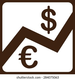 Finance from BiColor Euro Banking Icon Set. Vector style: flat, white symbol, rounded angles, brown background.