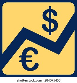 Finance from BiColor Euro Banking Icon Set. Vector style: flat, yellow symbol, rounded angles, blue background.