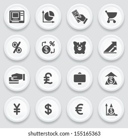 Finance black icons on with buttons.
