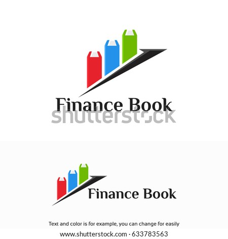 Finance Book Logo Growth Arrow Symbol Stock Vector Royalty Free
