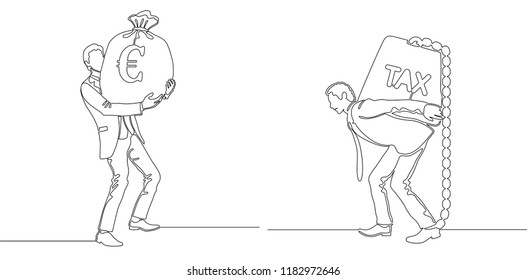 Finance budget concept. Business man with money bag and carrying tax weight. Continuous line drawing. One line drawing. Vector illustration.