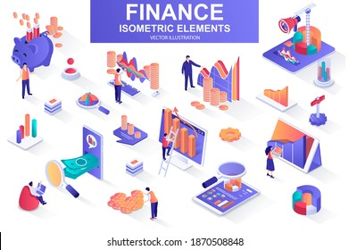 Finance bundle of isometric elements. Financial analytics, piggy bank, stock trading, market indexes, investment, money transfer isolated icons. Isometric vector illustration with people characters.