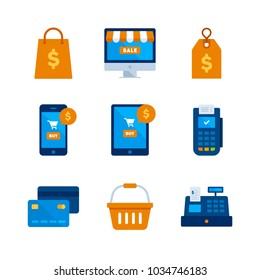Finance and Business - Flat Icon Set - Shopping Bag, Computer, Smartphone, Tablet, Price Tag, POS Terminal, Credit Card, Basket and Cash Register