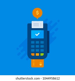 Finance and Business - Flat Illustration - POS Terminal, Credit Card and Receipt on a Blue Background