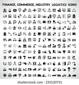 finance, business management, industry, production line, transportation, commerce, logistics and shipping icons set