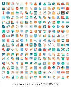 Finance Business Vector color solid Icon Set