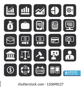 Finance and business vector icon set in black color button frame.
