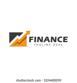 finance chart with arrow logo icon vector template
