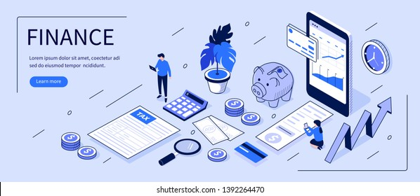 Finance concept with text place. Can use for web banner, infographics, hero images. Flat isometric vector illustration isolated on white background.