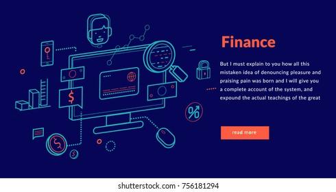 Finance Concept for web page, banner, presentation. Vector illustration