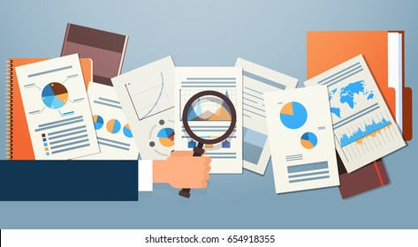 Finance Diagram Documents Desk Analysis Businessman Hand with Magnifying Glass Financial Business Graph Vector Illustration