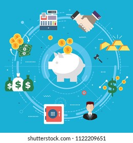 Finance and economy, investment, savings and business. Coin deposit in piggy bank, handshake between businessman. Safe, gold, cash register and money icons. Flat design vector illustration.