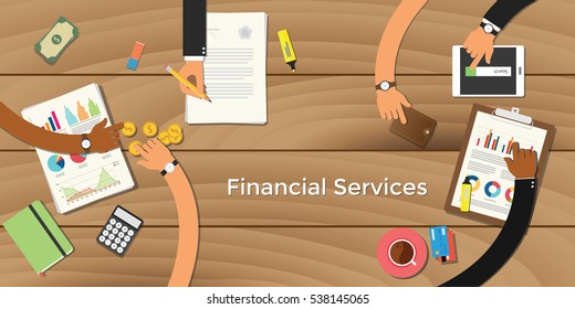 finance financial services business concept illustration terms with team business man hand writing working on graph chart money paper work