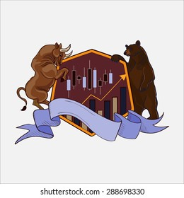 Finance forex Labels Logo with bull and bear, excellent vector illustration, EPS 10