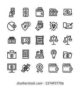 Finance icon set with outline style vector illustration
