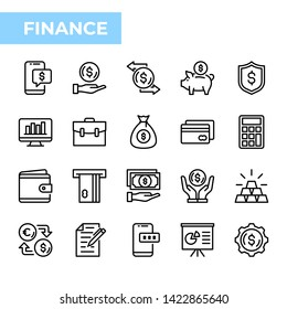 Finance Icon Set, outline style