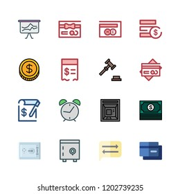 finance icon set. vector set about alarm clock id, auction, paid and mastercard icons set.