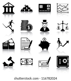 Finance icons - 16 finance related icons/ silhouettes.