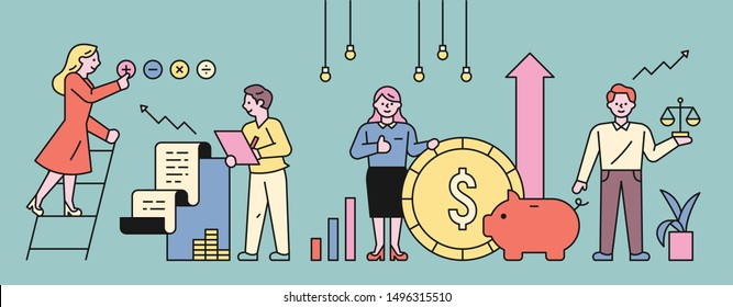 Finance icons and business people. flat design style minimal vector illustration.