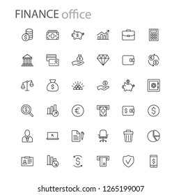finance icons collection business office money