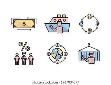 Finance icons. Financial services icons set. Icons customs broker, currency exchange. A silhouette of a man in the form of a customs broker with a document in hand near a cargo container on a hook