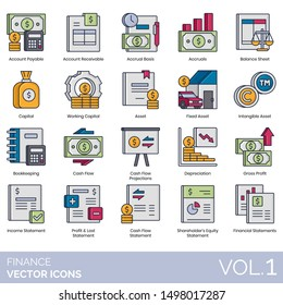 Finance icons including account, accrual basis, balance sheet, working capital, asset, intangible, bookkeeping, cash flow, projection, depreciation, gross profit, income, loss, shareholder equity.
