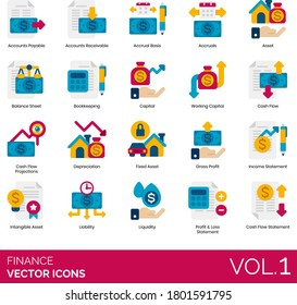 Finance icons including account payable, balance sheet, bookkeeping, working capital, cash flow projection, depreciation, fixed asset, gross profit, income statement, intangible, liability, liquidity.