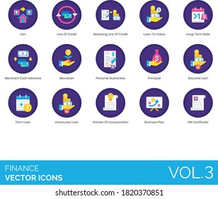 Finance icons including lien, revolving line of credit, loan to value, merchant cash advance, microloan, personal guarantee, principal, secured, unsecured, article of incorporation, business plan, EIN