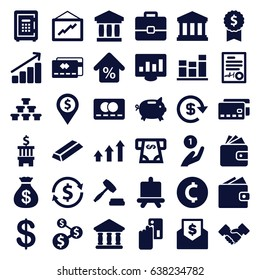 Finance icons set. set of 36 finance filled icons such as board, coin, money sack, credit card, gold, wallet, atm money withdraw, graph, safe, bank, chart, signed document