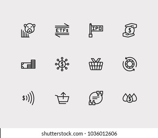 Finance icons set. Etfs and finance icons with hedge funds, blue chip stocks and quote. Set of elements including transaction for web app logo UI design.