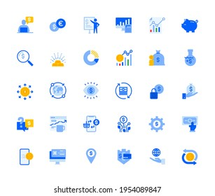 Finance icons set for personal and business use. Vector illustration icons for graphic and web design, app development, marketing material and business presentation.