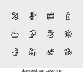 Finance icons set. Stock market and finance icons with bid, capitalization and broker. Set of deposit for web app logo UI design.