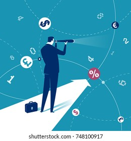 Finance. Illustration of a businessman looking through telescope. Business concept illustration