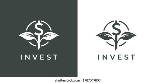 Finance invest-Logo-Symbol. Dollar-Pflanze wächst Symbol. Unterzeichnung des Investmentfonds für Finanzgelder. Das Symbol für Kapitalwachstum. Vektorgrafik.