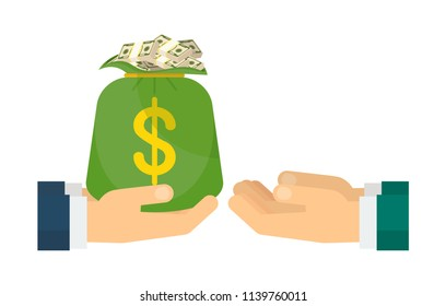 Finance and investment. Businessman offers a bag of money, funds for business development. Flat vector cartoon illustration. Objects isolated ongreen background.