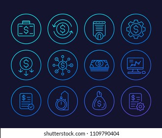 finance, investments, financial management, costs optimization linear icons set